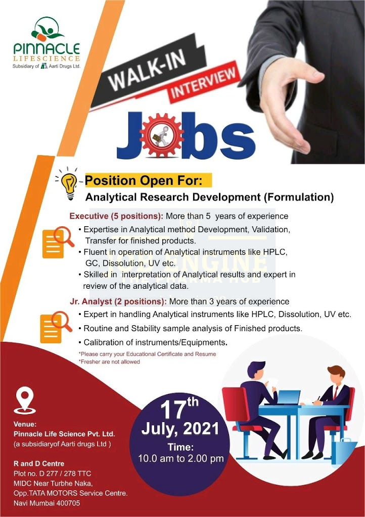 Walk-In For Analytical Research Development At Pinacle Life Sciences
