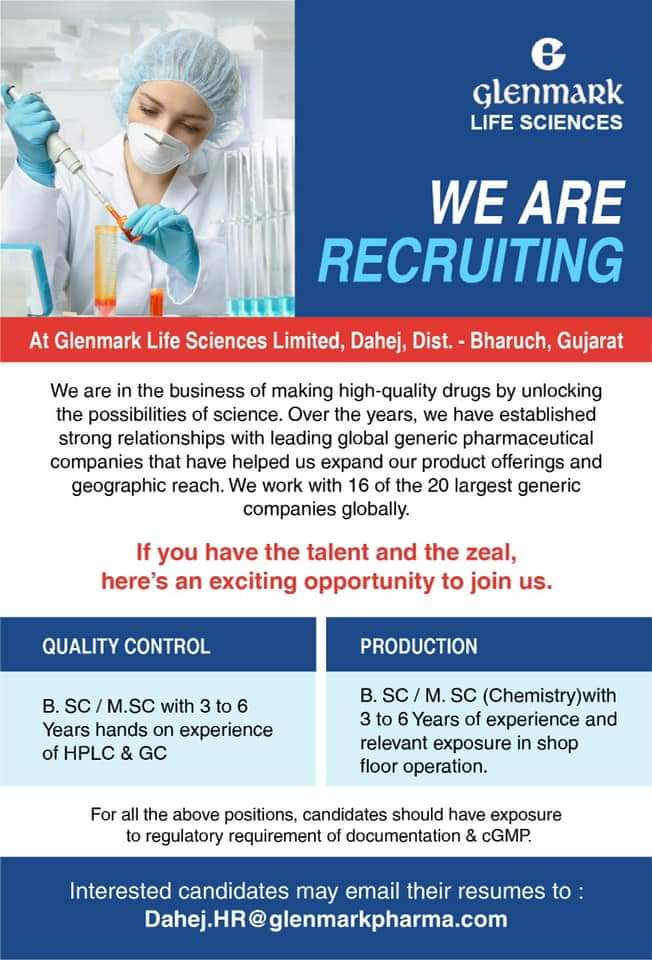 Opening For Quality Control & Production At Glenmark Life Sciences