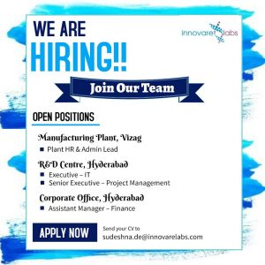 Opening For Project Management, Pharma IT, HR & Finance At Innovare Labs