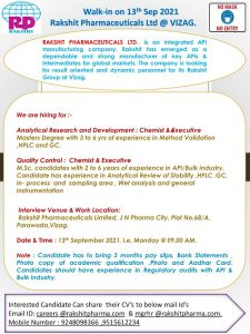 Walk-in For Analytical Research & Quality Control At Rakshit Pharma Ltd.