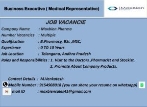 Opening For Freshers & Experienced Medical Representative At  Pharma