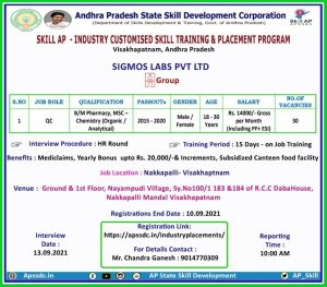 Freshers Training & Placement In Quality Control (30 vacancy) By Sigmos