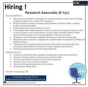 Opening For Freshers Research Associate At 6W Research