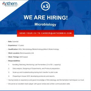 Opening For Microbiologist At Anthem Bio-Sciences