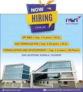 Formulation Development, Analytical Research & API R&D Opening At Rusan Pharma