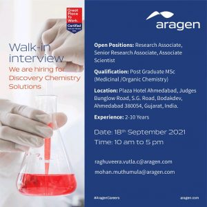 Walk-In For Research Associate & Sr. Associate At Aragen For Discovery Chemistry
