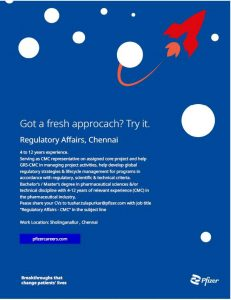 Opportunity At Pfizer India For Regulatory Affairs Department