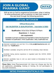 Opening At Intas For QA Validation & Qualifications Department