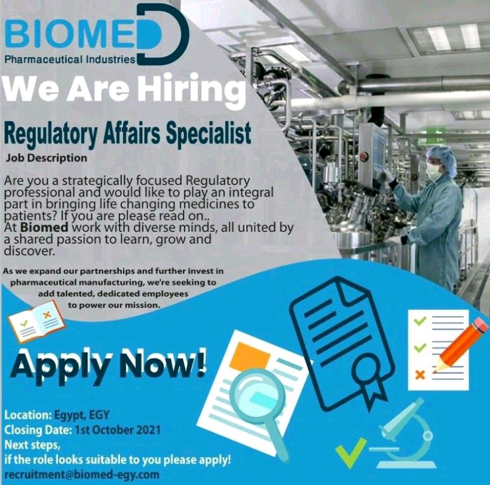 Opening For Regulatory Affairs Specialists At Biomed Pharmaceuticals