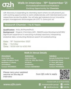 Walk-In For Process R&D Chemist  02h Discovery