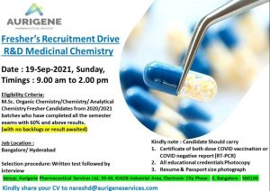 Freshers Recruitment Drive For Freshers At Aurigene- A Subsidiary of Dr. Reddys