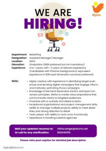 Opening For Sales & Marketing At Akums Drugs