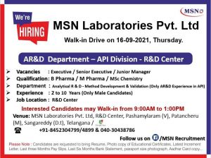 Opening For Analytical Research Development MSN R&D Center