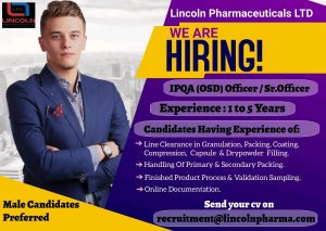 Opening For IPQA By Lincoln Pharma
