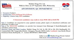 Opening For Freshers Quality Control At Maithri Drugs