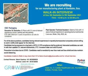 Walk-in By Zydus Cadila For Packing-OSD Department For Officers & Operators