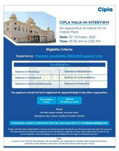 Walk-in By Cipla For Freshers Pharmacy Diploma & Engineering Candidate