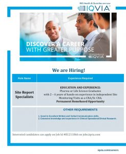 Work From Home Clinical Research Associate Opening At IQVIA