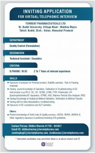 Virtual Interview For Quality Control Professional By Torrent Pharma