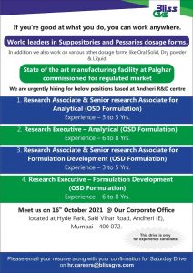 Walk-In On 16th Oct 21 For Formulation Development & Analytical Research Development For Multiple Position