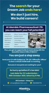 Opening Gor Quality Control Officer/ Sr. officers At Alembic Pharmaceutical
