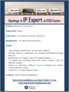 Opening For Intellectual Property Management Expert At Torrent Pharma
