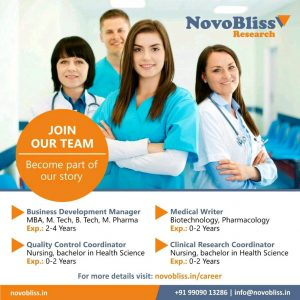 Opening For Freshers & Experienced Professional  Clinical Research, Business development, Medical Writing, QC Coordinator At Novobliss Research