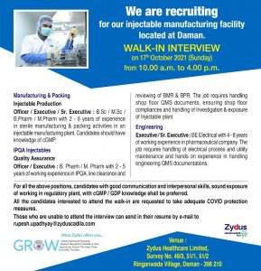 Walk-In on 17th Oct 21 By Zydus For Production, Quality Assurance & Engineering In Injectable Department