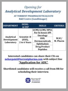 Opening For Analytical Development Research At Torrent Research Center