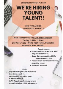 Walk-in For Freshers (500 vacancies) In Cornis Health care