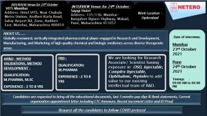 Walk-In on 23rd & 24th Oct 21 For Formulation Development & Analytical Research By Hetero