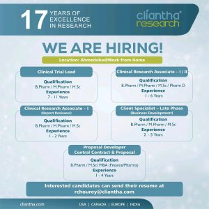 Multiple Opening In Clinical Research At Cliantha Research
