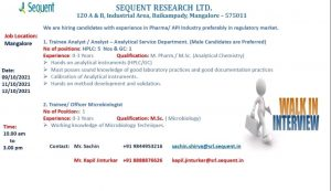 Opening For Freshers & Experience Analyst & Microbiologist At Sequent Research Ltd