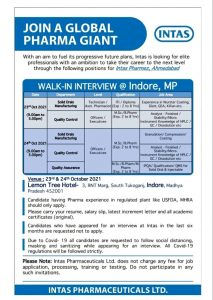 Walk-in By Intas 23-24th Oct 21 For Production, Quality Assurance, Quality Control Department