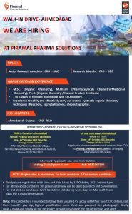 Walk-In on 16th Oct 2021 For API R&D At Piramal Discovery Solution