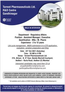 Multiple Opening At Torrent For Regulatory Affairs Department
