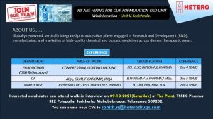 Walk-in By Hetero on 9th Oct 21 For Production, QA, Warehouse Department By Hetero