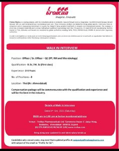 Walk-In For Microbiologist (8 Vacancies) At Troikaa Pharmaceutical