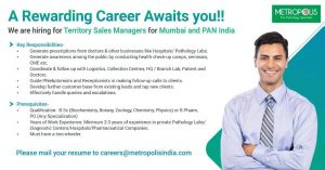 Opening For Sales And Marketing At Metropolis Healthcare Ltd
