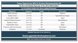 Opening For QA, QC, Production, RA, Process R&D In API At SK Pharma